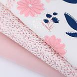 """Набор тканей 40*40 из 3-х шт """"Глиттерные цветы и веточки"""" сине-розового цвета (№151), фото 3"""