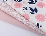 """Набор тканей 40*40 из 3-х шт """"Глиттерные цветы и веточки"""" сине-розового цвета (№151), фото 2"""