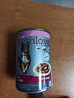 """Корм вологий для собак """"NUTRILOVE"""" індичка  в соусі вага 415 грам."""