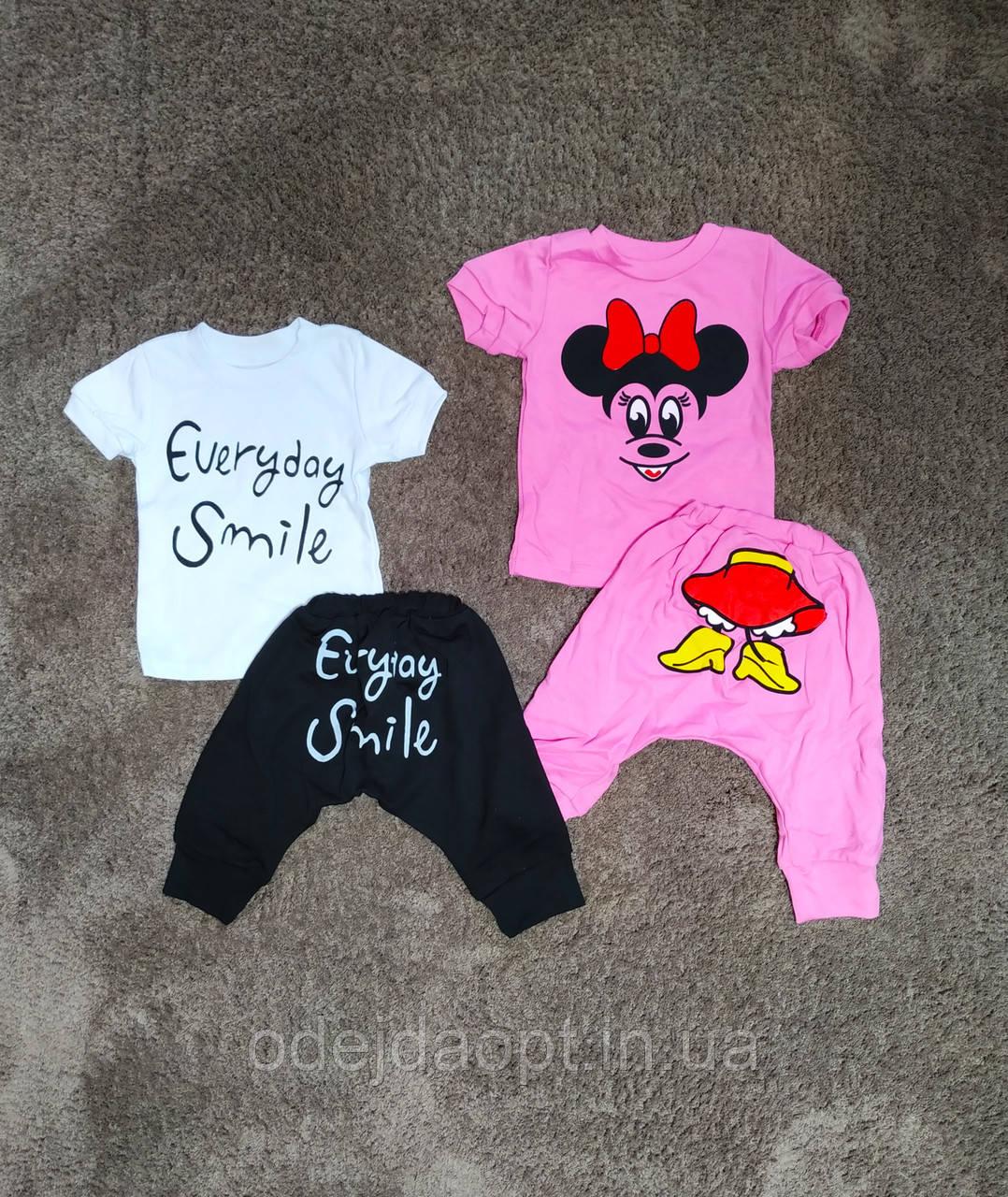 Детский комплект для мальчика и девочки футболка и бриджи 1 2 года