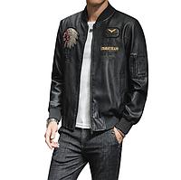 Молодежная мужская кожаная куртка. (1201), фото 1