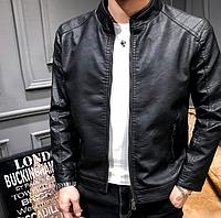 Чорна чоловіча шкіряна куртка. (1202)