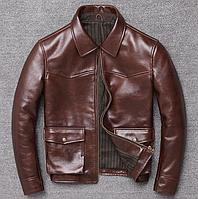 Чоловіча куртка Urban з натуральної шкіри, коричнева. (1213), фото 1