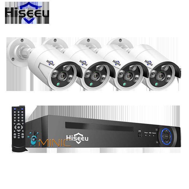 Комплект видеонаблюдения Hiseeu POEKIT-8HB624 4K POE NVR (регистратор и 4 камеры + всё для монтажа)
