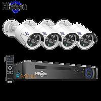 Комплект видеонаблюдения Hiseeu POEKIT-8HB624 4K POE NVR (регистратор и 4 камеры + всё для монтажа), фото 1
