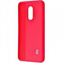 Силиконовый Чехол Label Case Leather + Perfo Для Xiaomi Redmi 5 Plus Red