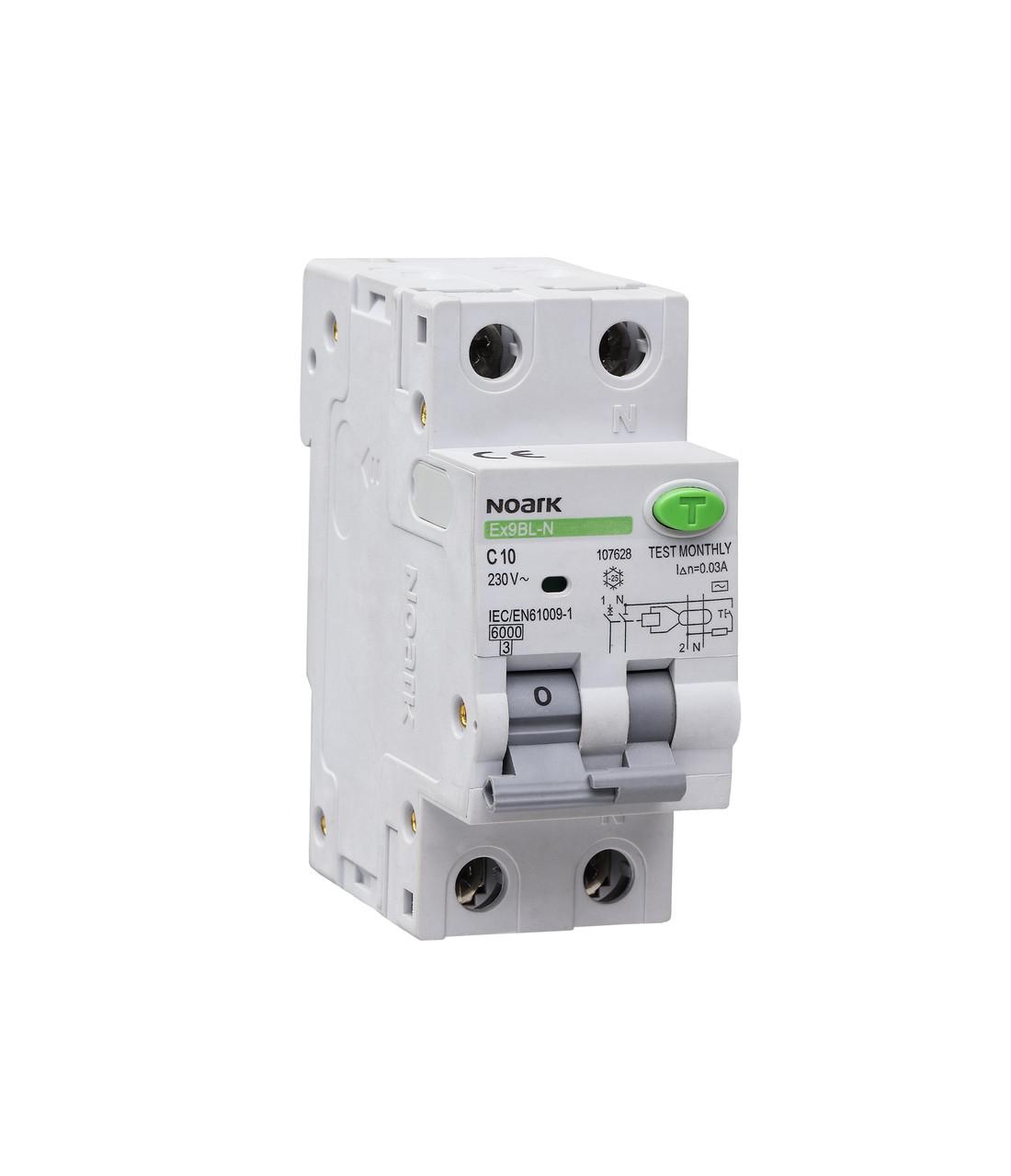 Дифавтомат (УЗО) Noark 6кА 10А 1P+N 30mA тип AC Ex9BL-N 107628