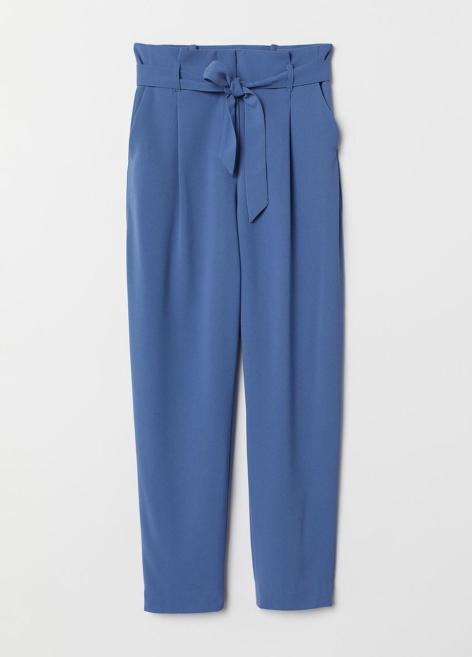 Темно-голубые демисезонные прямые брюки H&M