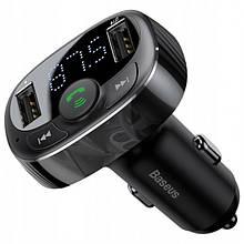 Fm-Модулятор Baseus S-09A T Typed (Bluetooth, Mp3) C Функцией Зарядного Устройства Black