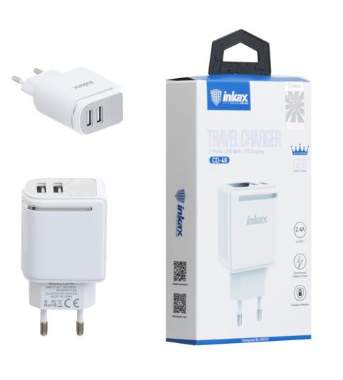 Зарядний пристрій USB inkax, CD-48, White, 2USB, display 2,4 A, СЗУUSBinkaxCD-48