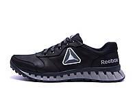 Мужские кожаные кроссовки  Reebok Classic Black and Grey (;)