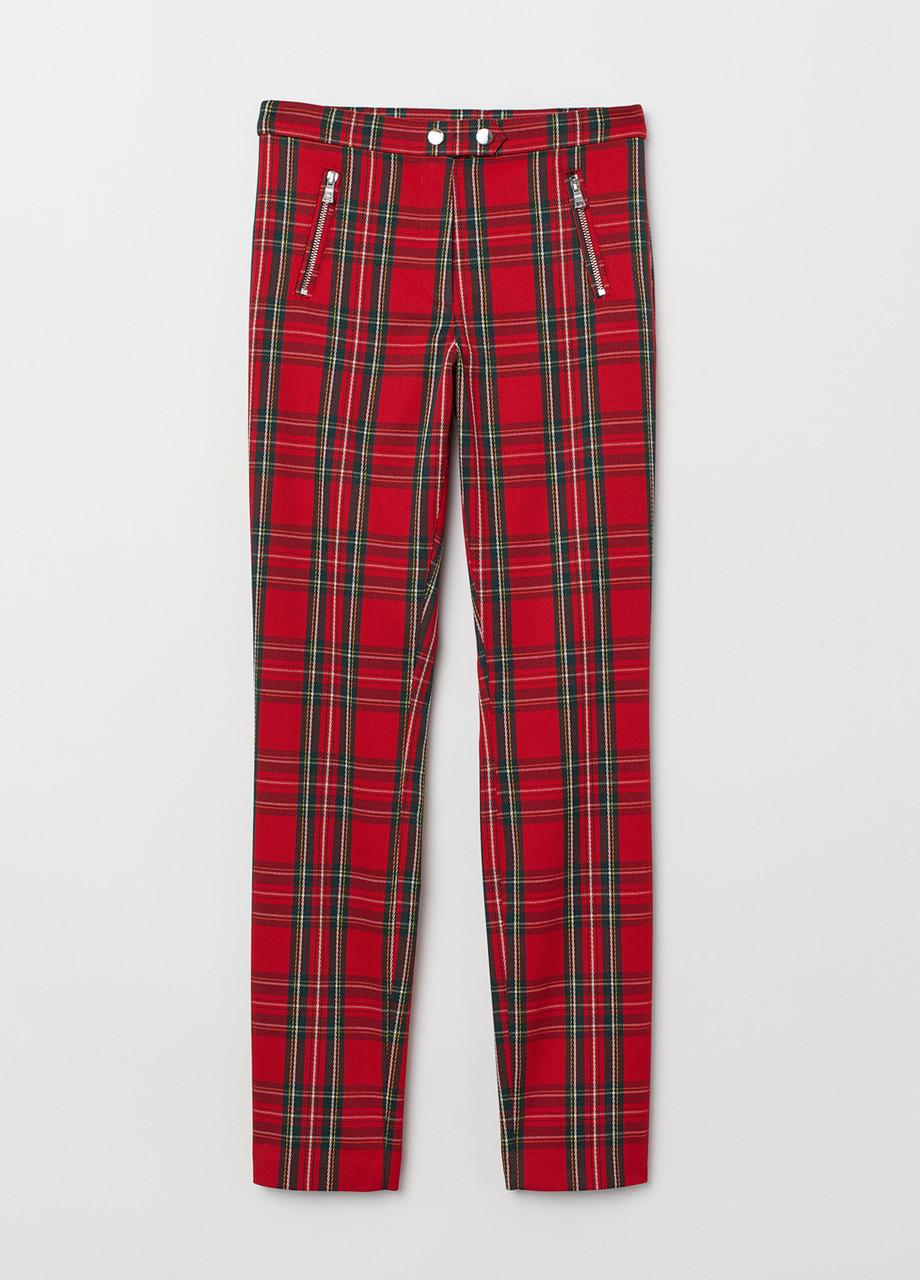 Красные демисезонные зауженные брюки H&M