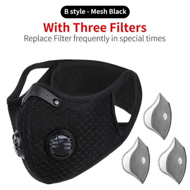 Защитная спортивная маска для бега и тренировок черная на 3 фильтра