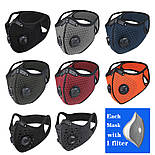Защитная спортивная маска для бега и тренировок черная на 3 фильтра, фото 2