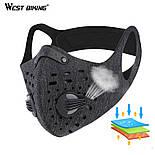 Защитная спортивная маска для бега и тренировок черная на 3 фильтра, фото 4