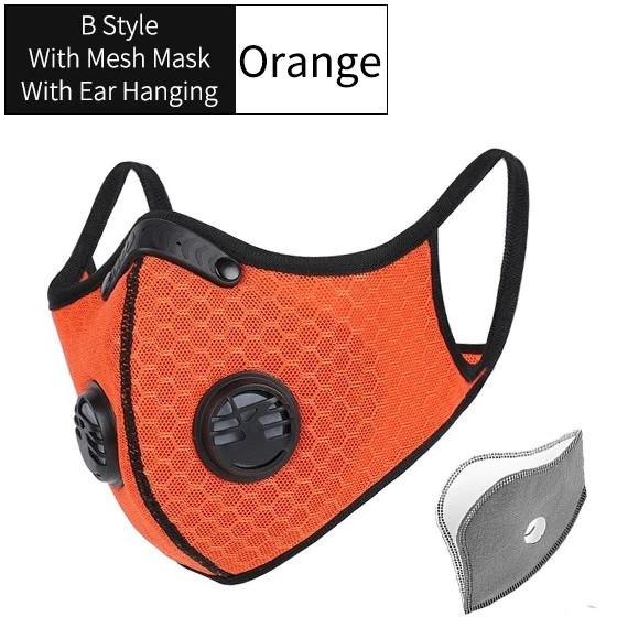 Захисна спортивна маска помаранчева на 3 фільтра