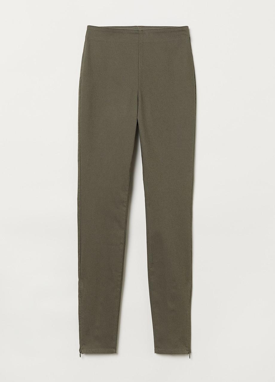 Темно-зеленые демисезонные зауженные брюки H&M