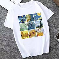 Стильная женская футболка с принтом картина Ван Гог