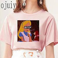 Стильная женская футболка розовая с принцессой
