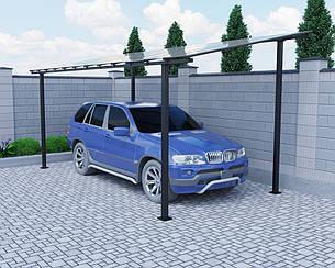 Автомобильный навес Oscar Halk Long 4000х6190х2986 мм Двойной слой молотковой краски, Монолитный поликарбонат Borrex 4 мм