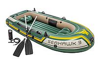 Надувная трёхместная лодка Intex, 68380, с насосом и вёсламми, 295х137х43см
