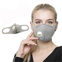 Защитная спортивная маска с активированным углем серая