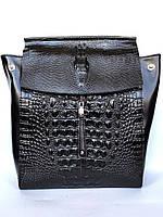 Женский рюкзак-трансформер из натуральной кожи с тиснением под крокодила