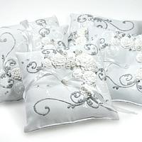 Хит! Красивая Свадебная Подушечка для Колец 16х16 см, Белая