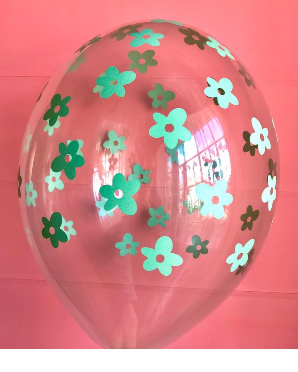 """Повітряна куля прозорий квіти 12"""" 30 см Party Deco ( поштучно ) бірюза"""