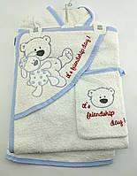 Подарочный набор для новорожденного банный халат для купания подарок 4 предмета полотенце