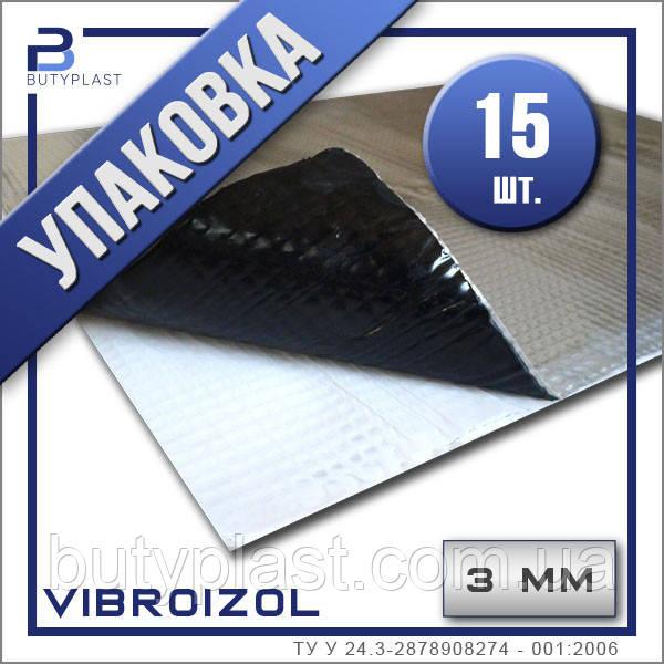 Виброизоляция Виброизол 3 мм, 330х500 мм, Ф-70 мкм.| Упаковка 15 шт | Vibroizol