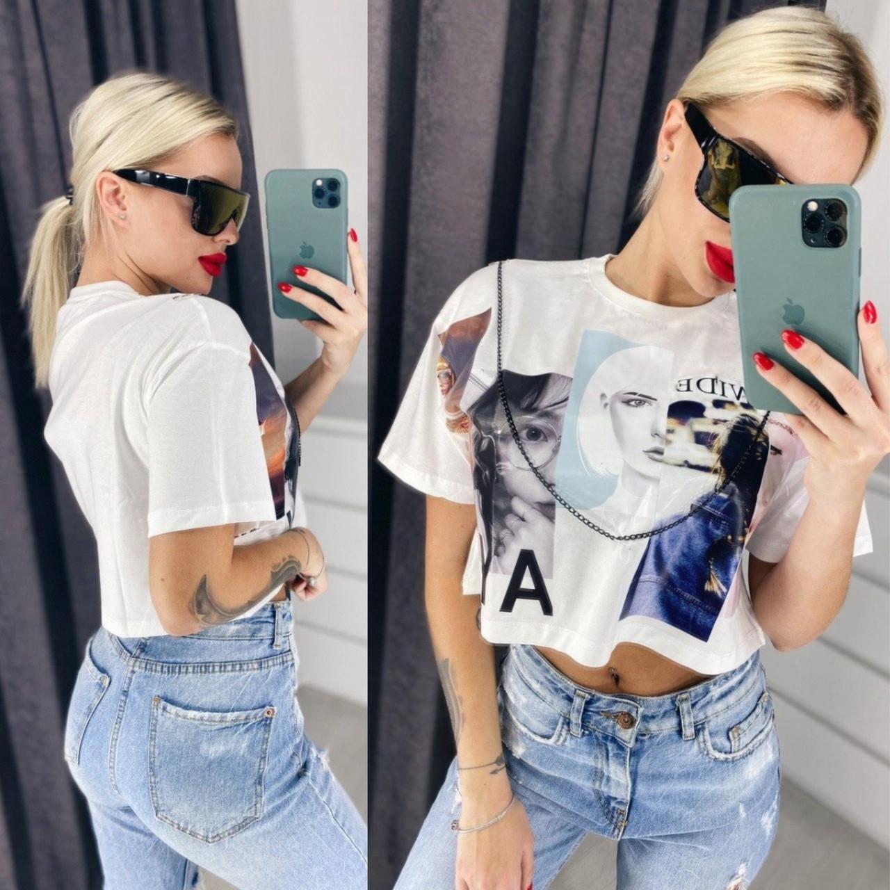Белая Летняя модная стильная женская  футболка топ