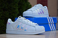 Кроссовки женские Adidas SuperStar белые, Адидас Суперстар, натуральная кожа, прошиты. Код OD-2881 40