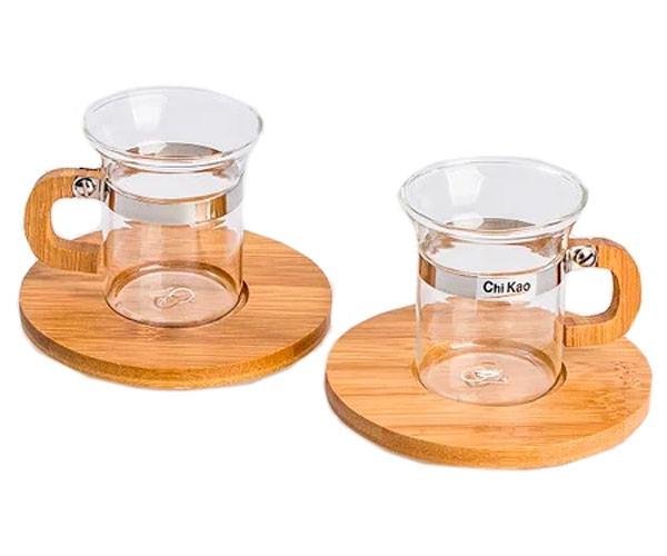 Набір чашок з дерев'яною підставкою Chi Kao 132A 50 мл 2 шт