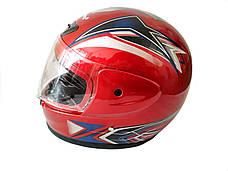 Шлем 802 Красный (закрытый, белое стекло) MotoTech, фото 2