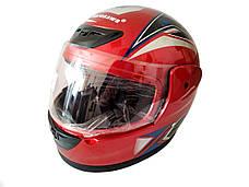 Шлем 802 Красный (закрытый, белое стекло) MotoTech, фото 3