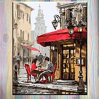 """Картины по номерам ТМ """"Идейка"""", Городской пейзаж """"Свидание в кафе"""" 40*50 см на подрамнике, без коробки"""
