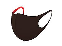 Трехслойная защитная маска многоразовая (неопрен), коричневый/красный, фото 1