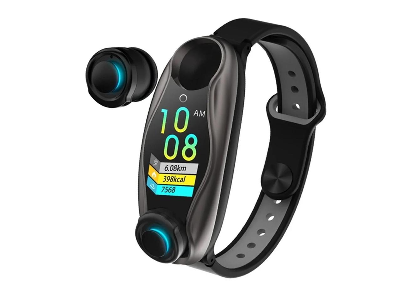 Фитнес браслет с беспроводными наушниками 2 в 1 T90 TWS Smart