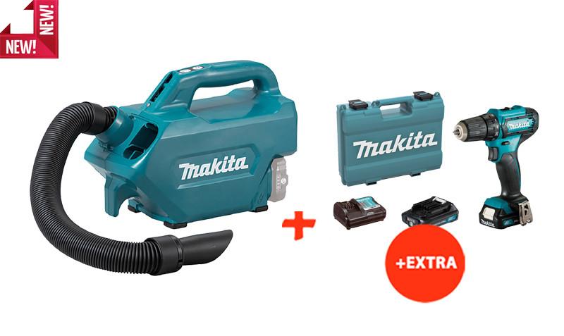 Аккумуляторный пылесос Makita CL121DZ+аккумуляторный шуруповерт Makita DF333DWAE (CL121SET)