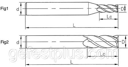 Ø 3*12*3*75-2F Фреза твердосплавная концевая (45HRC), фото 2