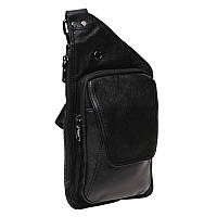 Мужской кожаный рюкзак на плечо Akor akK1323-black