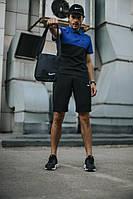 Костюм мужской Nike шорты , футболка электрик-черный + барсетка+кепка (Nike белое лого) в подарок, фото 1