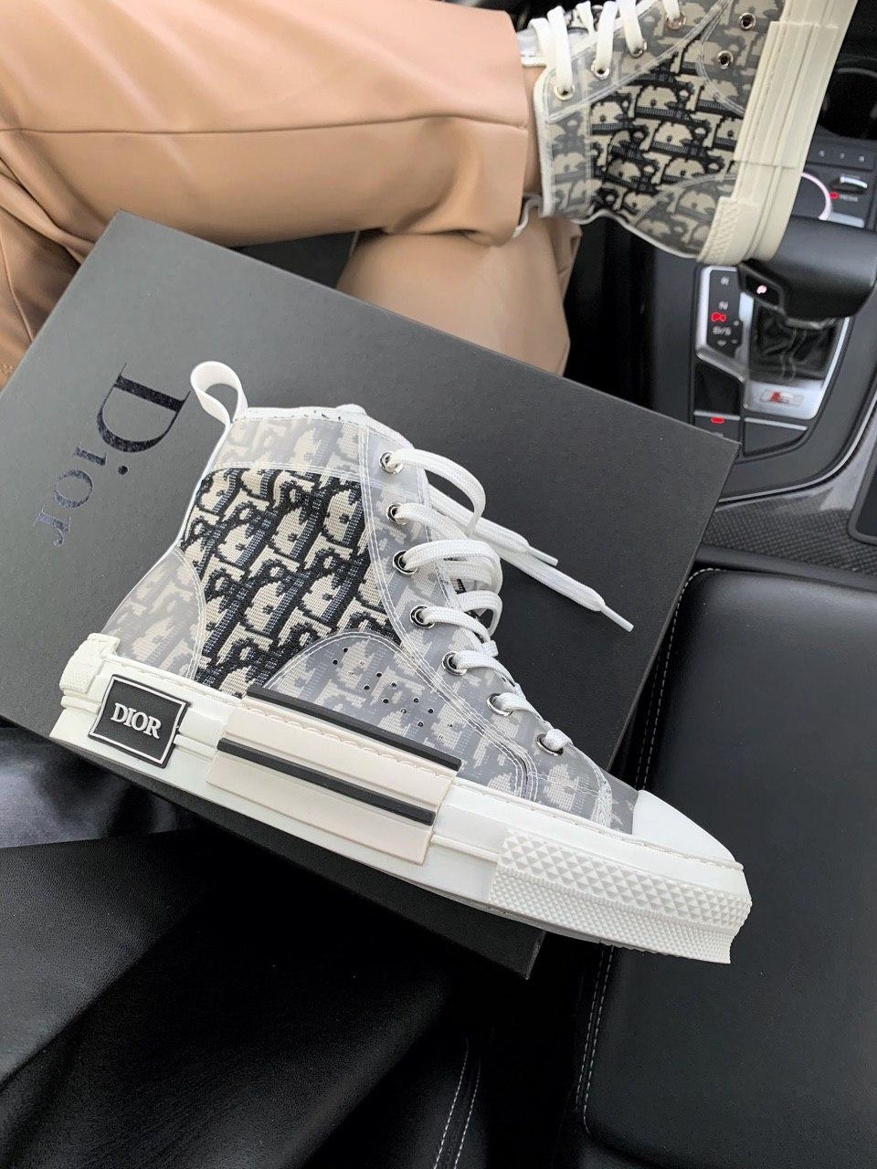 Стильные женские кеды (кроссовки) Dior Hight Beige (Premium)