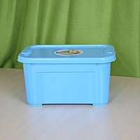 Ящик для хранения вещей и детских игрушек голубой. Объем контейнера 5 л с крышкой.