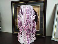 Свеча резная Розово-белая 22 см