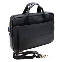 Мужская кожаная сумка для ноутбука Akor Leather ak1t9036-black