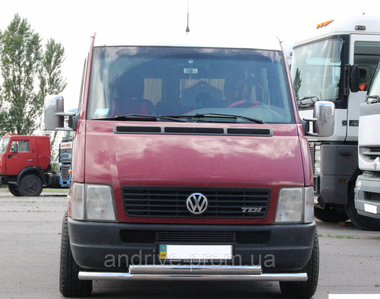 Защита переднего бампера (ус двойной) Volkswagen LT-35 1996-2006