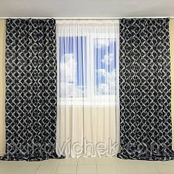 Комплект готовых штор для зала темно синий