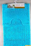 Набор ковриков в ванную и туалет с вырезом 50*80 ROOM MAT 2 в 1 Микрофибра антискользящий голубой